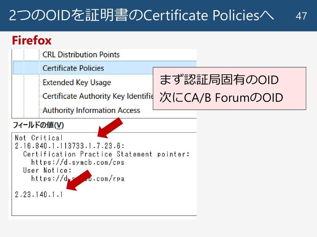 2つのOIDを証明書のCertificate Policiesへ 47 Firefox まず認...
