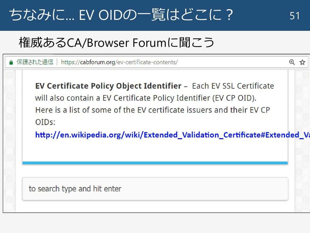 ちなみに... EV OIDの一覧はどこに? 51 権威あるCA/Browser Forumに...
