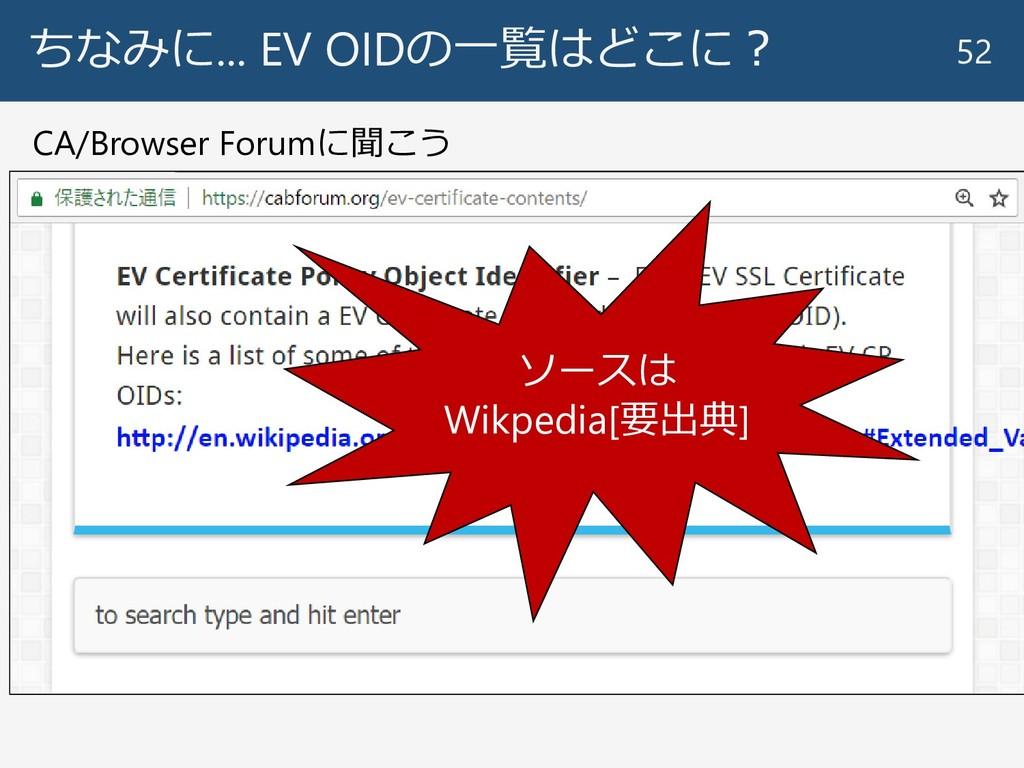 ちなみに... EV OIDの一覧はどこに? 52 CA/Browser Forumに聞こう ...