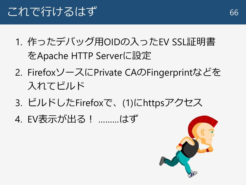 これで行けるはず 1. 作ったデバッグ用OIDの入ったEV SSL証明書 をApache HT...