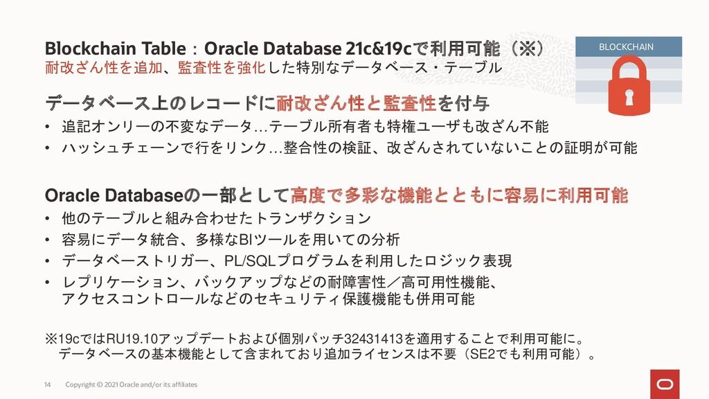 耐改ざん性を追加、監査性を強化した特別なデータベース・テーブル データベース上のレコードに耐改...