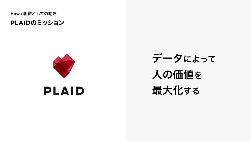 12 σʔλʹΑͬͯ ਓͷՁΛ ࠷େԽ͢Δ PLAIDのミッション How / 組織として...