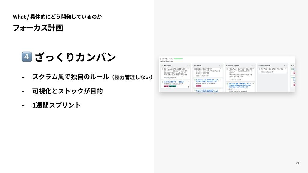 36 フォーカス計画 0 ざっくりカンバン - スクラム⾵で独⾃のルール(極⼒管理しない) -...
