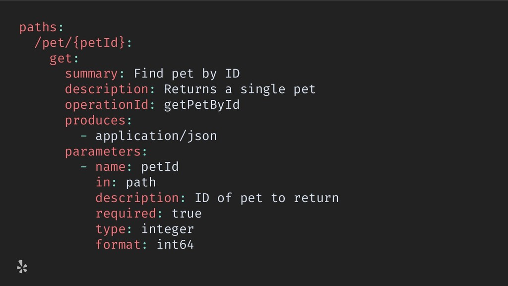 paths: /pet/{petId}: get: summary: Find pet by ...