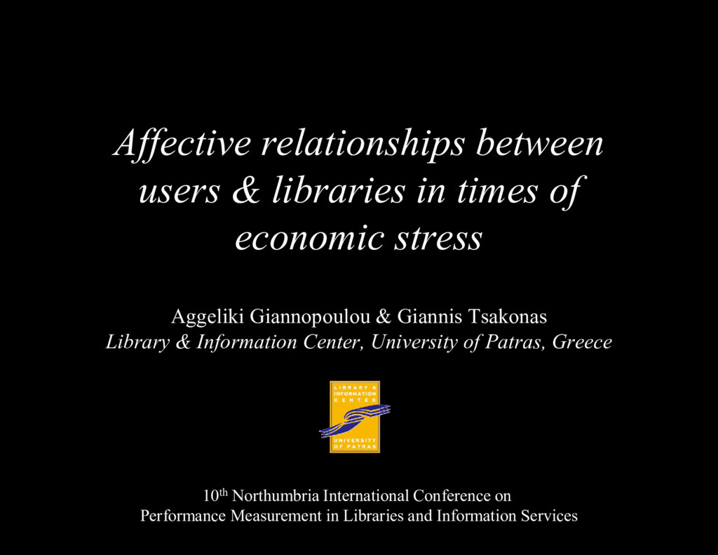 Affective relationships between users & librari...