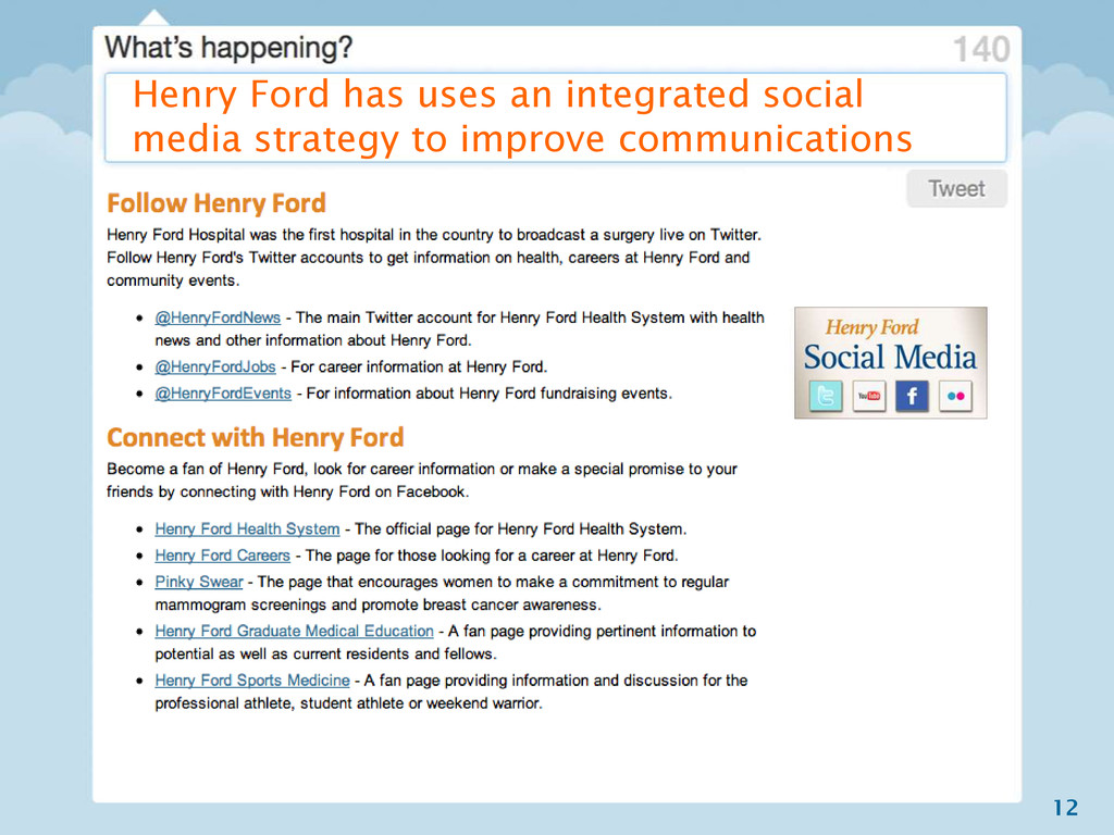 12 Henry Ford has uses an integrated social med...