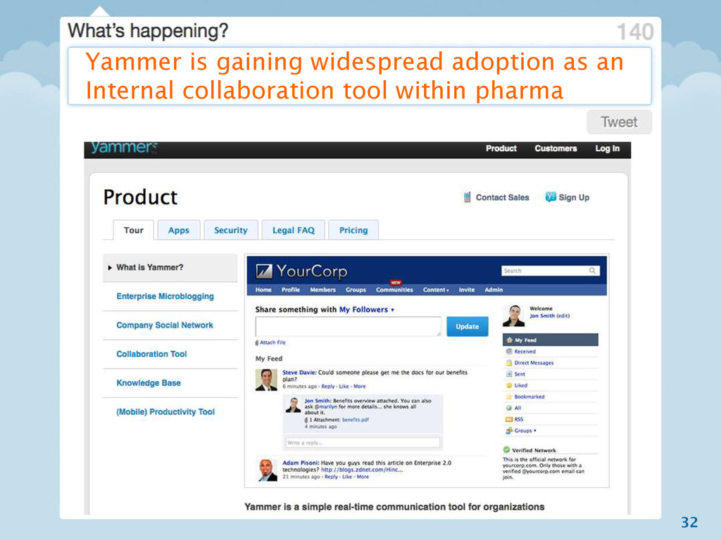 32 Yammer is gaining widespread adoption as an ...