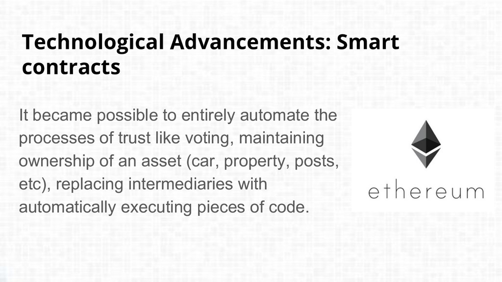 Technological Advancements: Smart contracts It ...