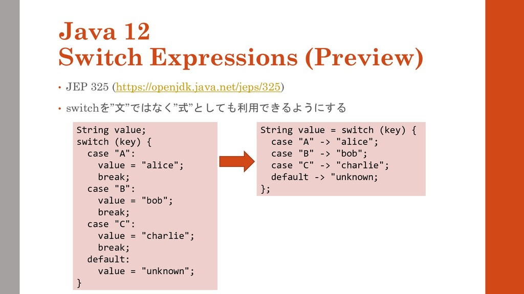 Java 12 Switch Expressions (Preview) • JEP 325 ...
