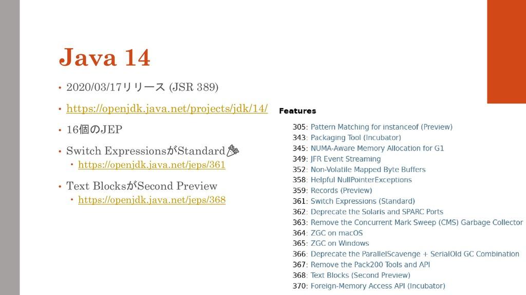 Java 14 • 2020/03/17リリース (JSR 389) • https://op...