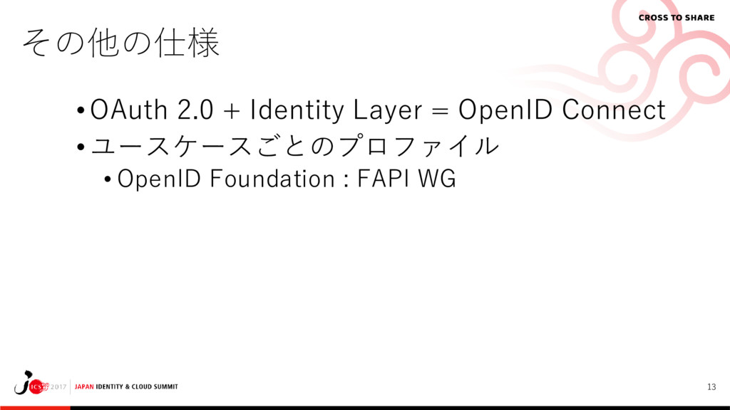13 その他の仕様 • OAuth 2.0 + Identity Layer = OpenID...