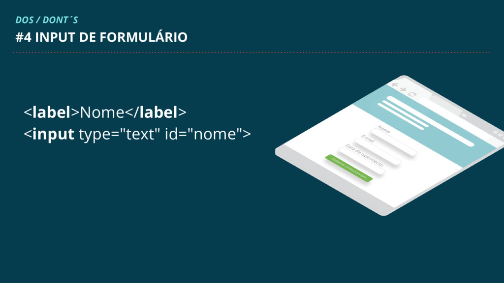 """<label>Nome</label> <input type=""""text"""" id=""""nome..."""