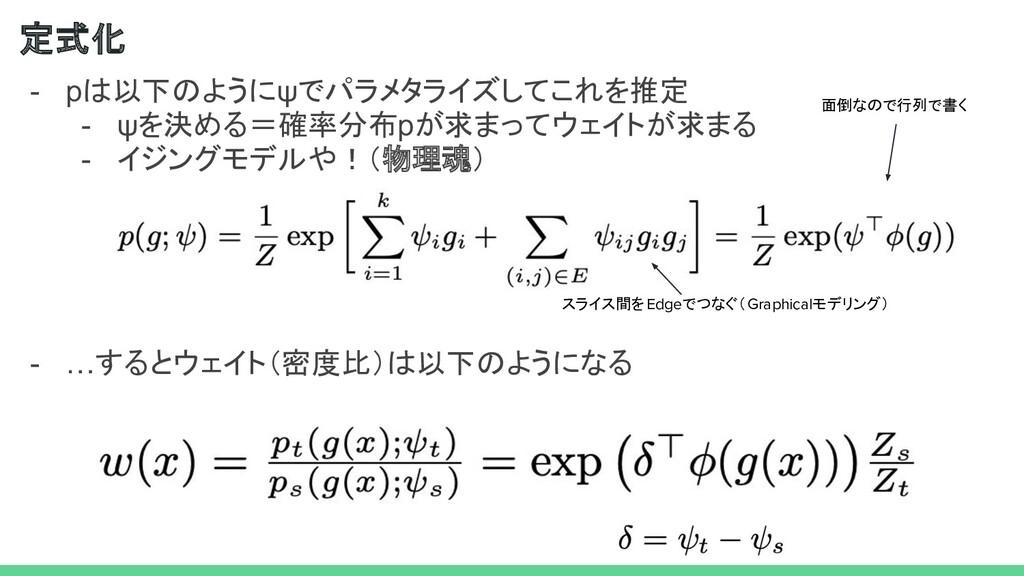 - pは以下のようにψでパラメタライズしてこれを推定 - ψを決める=確率分布pが求まってウェ...