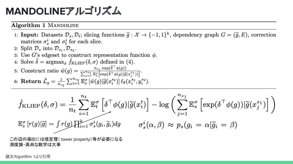 MANDOLINEアルゴリズム 論文Algorithm 1より引用 この辺の導出には塔定理( ...