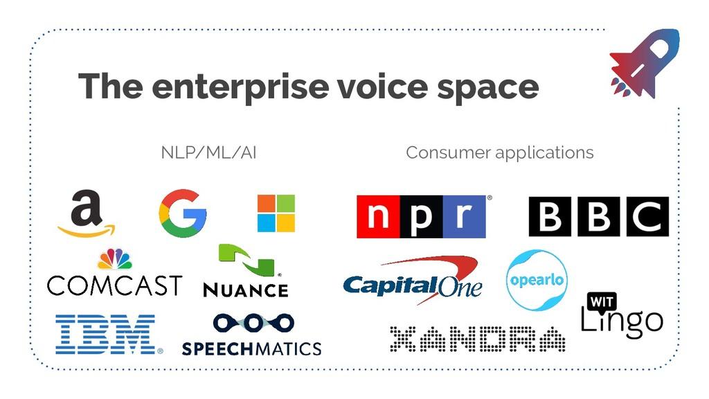The enterprise voice space NLP/ML/AI Consumer a...