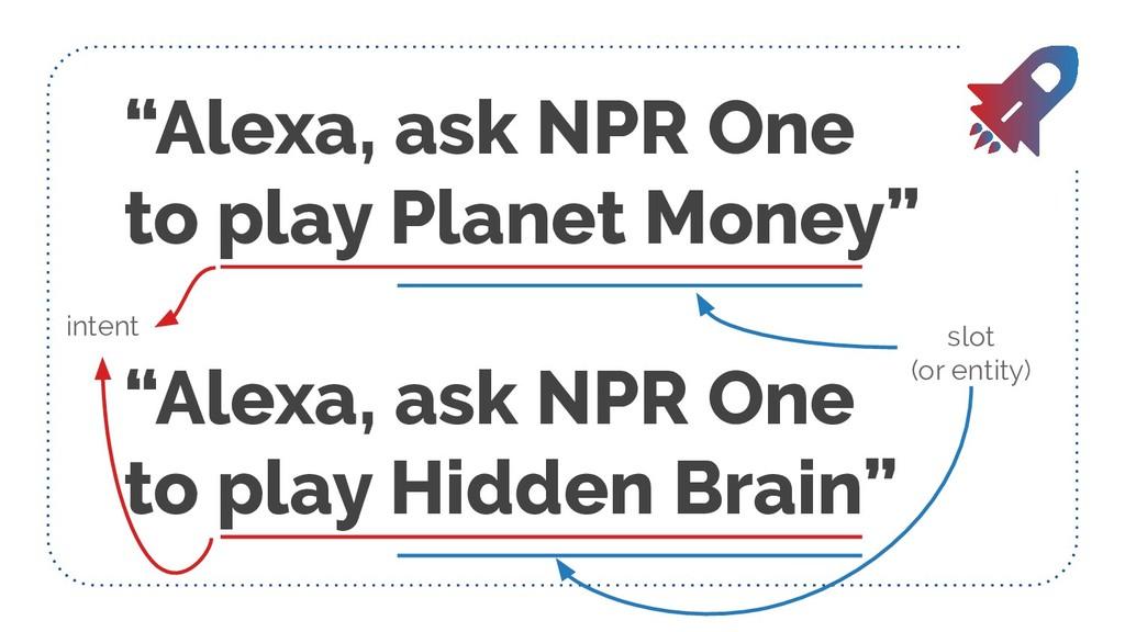 """Alexa, ask NPR One to play Planet Money"" ""Alex..."