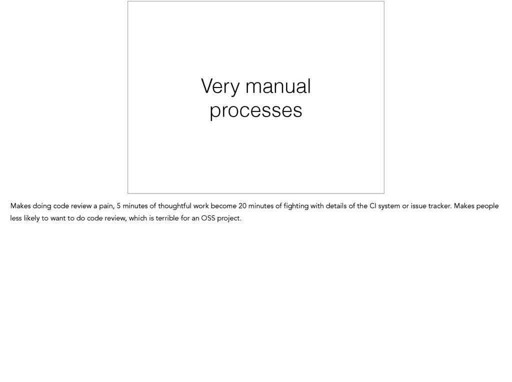 Very manual processes Makes doing code review a...