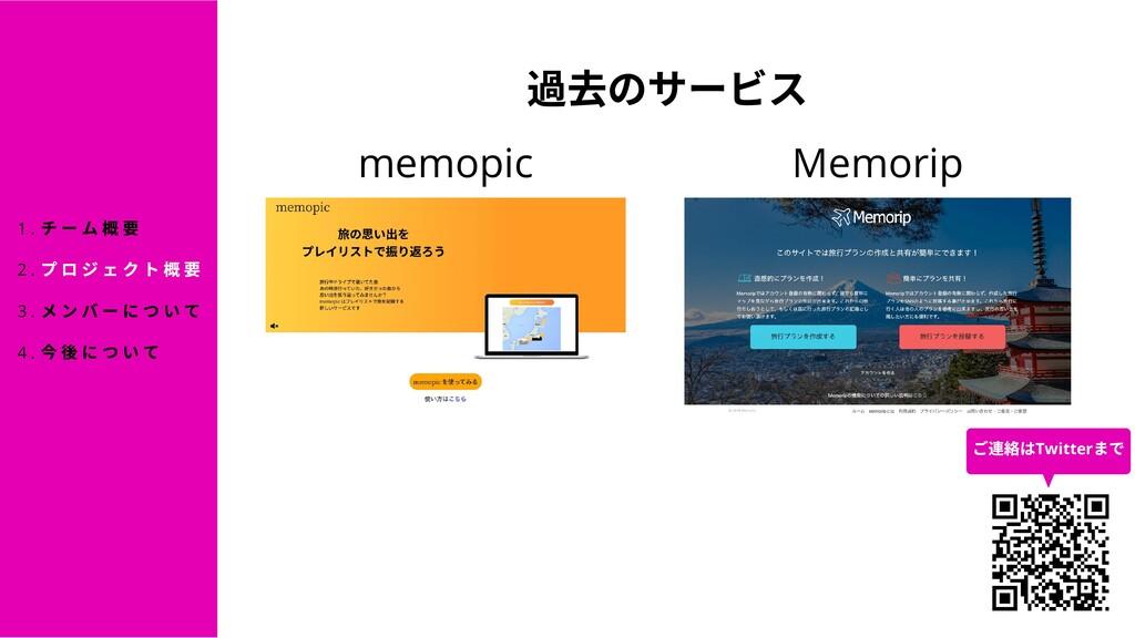 のサービス memopic Memorip チーム プロジェクト メンバーについて について ...