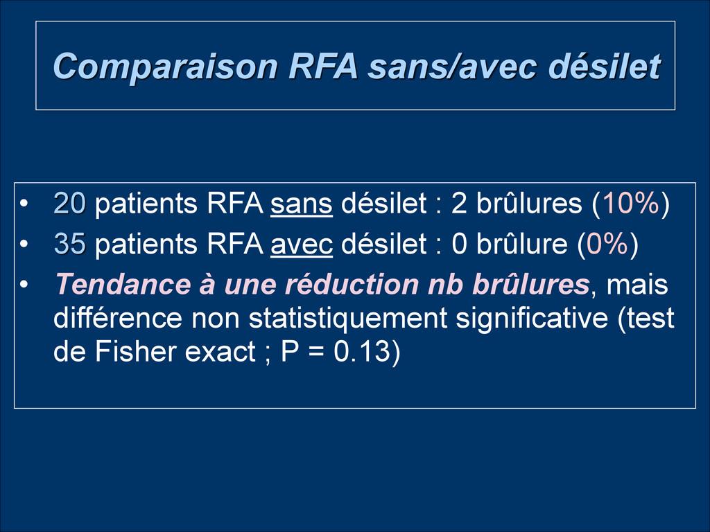 Comparaison RFA sans/avec désilet • 20 patients...