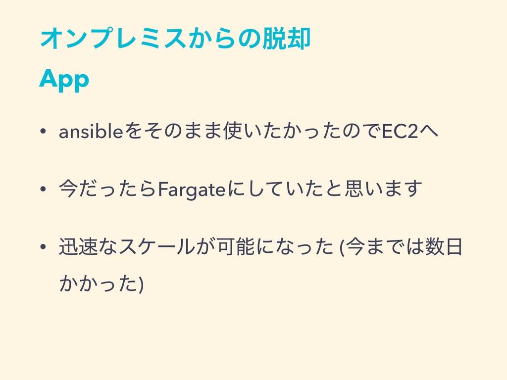 ΦϯϓϨϛε͔Βͷ٫ App • ansibleΛͦͷ··͍͔ͨͬͨͷͰEC2 • ࠓ...
