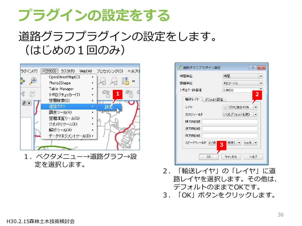 H30.2.15森林土木技術検討会 プラグインの設定をする 1 1.ベクタメニュー→道路グラフ...