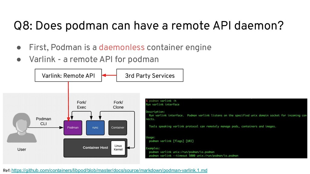 Q8: Does podman can have a remote API daemon? ●...