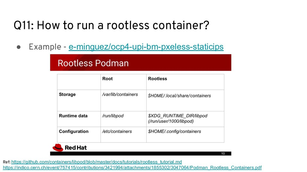 Q11: How to run a rootless container? ● Example...