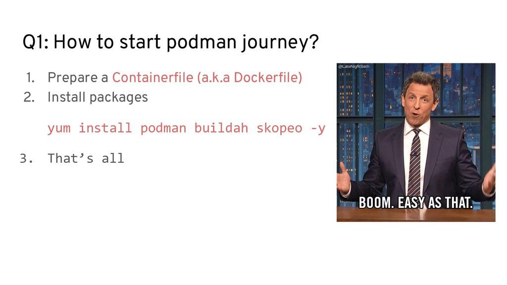 Q1: How to start podman journey? 1. Prepare a C...