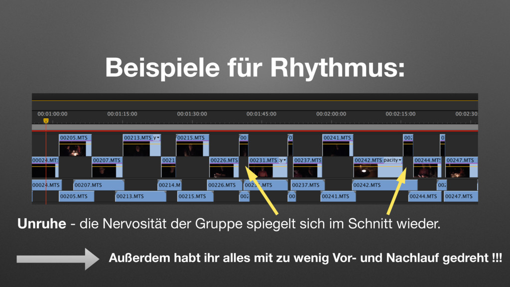 Beispiele für Rhythmus: Unruhe - die Nervosität...