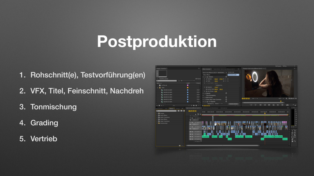 Postproduktion 1. Rohschnitt(e), Testvorführung...
