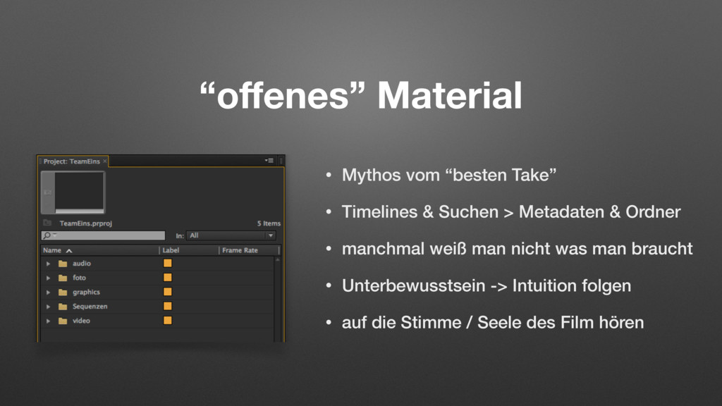 """offenes"" Material • Mythos vom ""besten Take"" • ..."