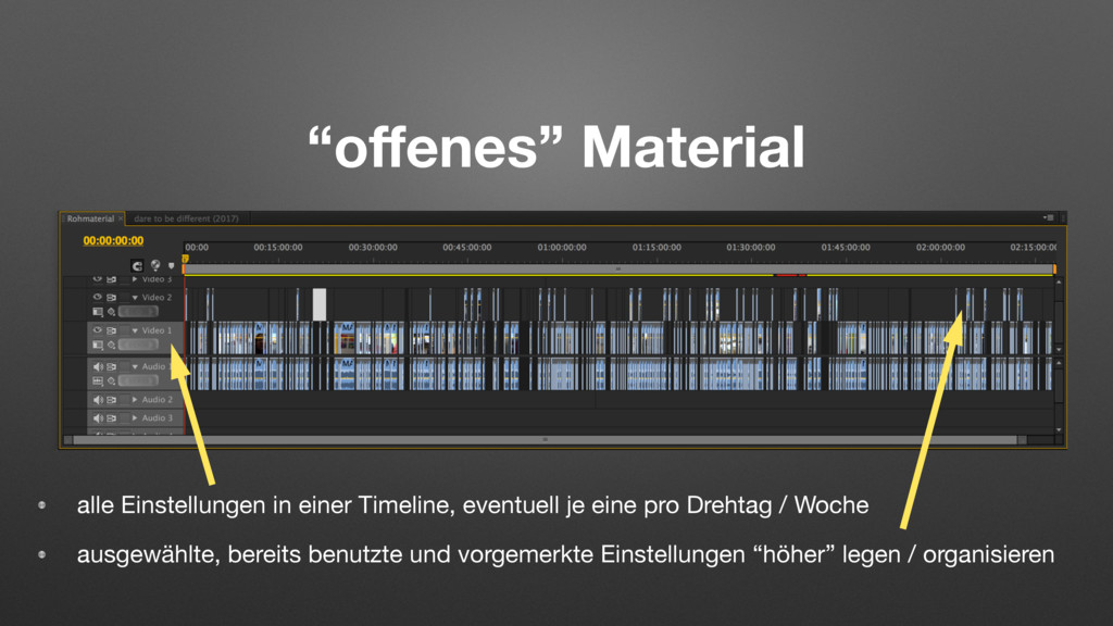 """""""offenes"""" Material alle Einstellungen in einer T..."""