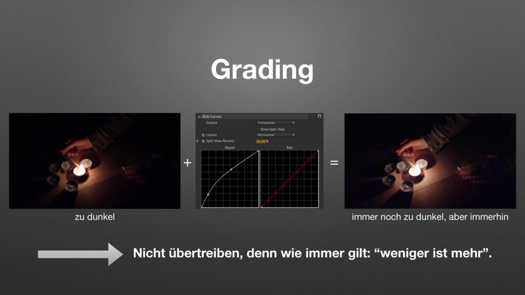 Grading + = Nicht übertreiben, denn wie immer g...