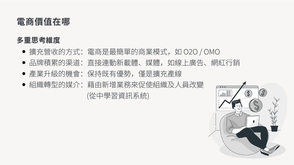 擴充營收的方式:電商是最簡單的商業模式,如 O2O / OMO 品牌積累的渠道:直接連動新載體...