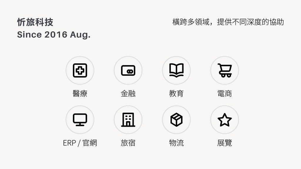 忻旅科技 Since 2016 Aug. 醫療 橫跨多領域,提供不同深度的協助 ERP / 官...
