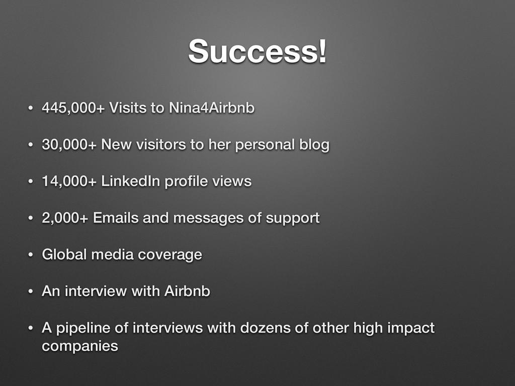 Success! • 445,000+ Visits to Nina4Airbnb • 30,...