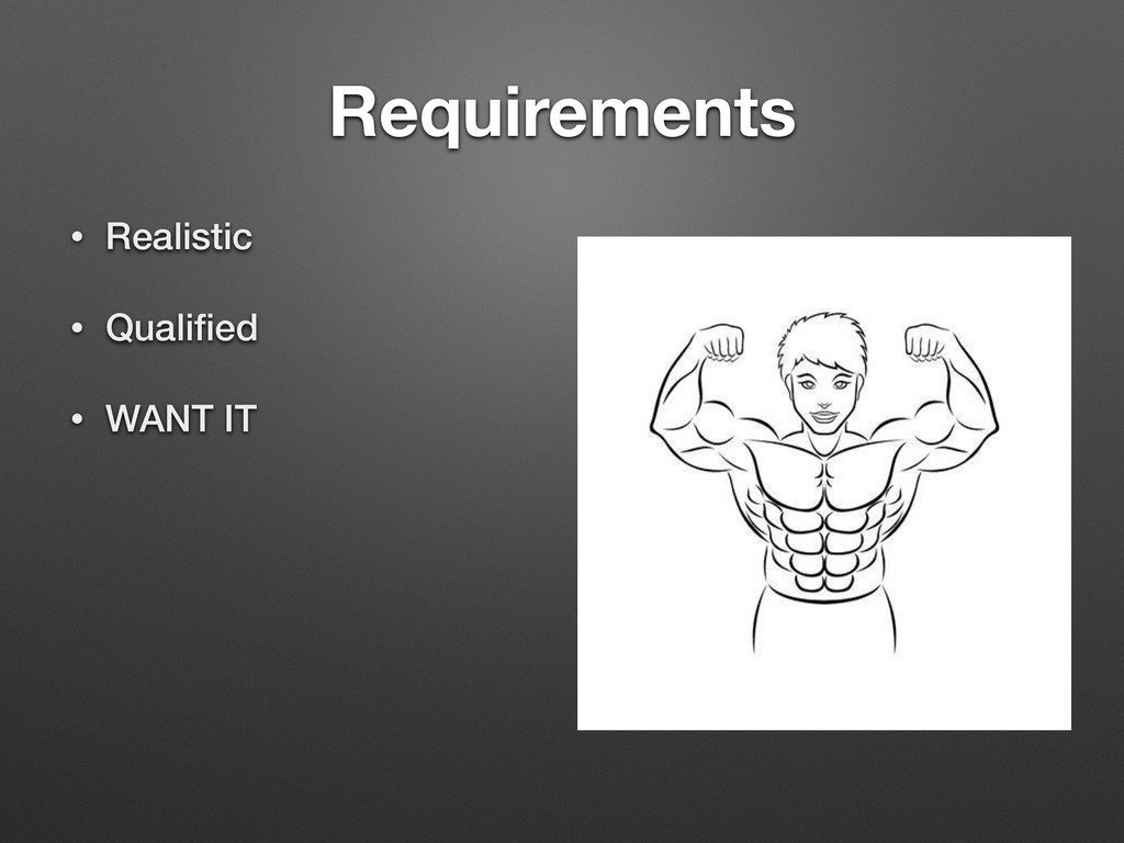 Requirements • Realistic • Qualified • WANT IT