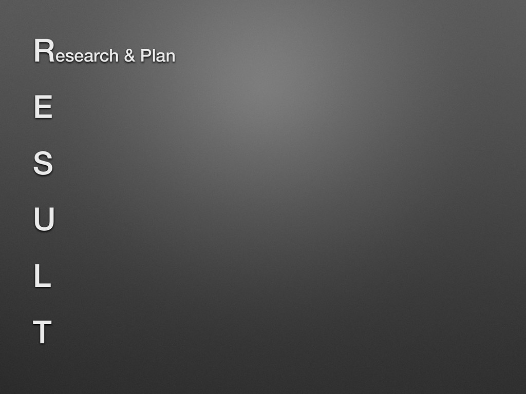Research & Plan E S U L T
