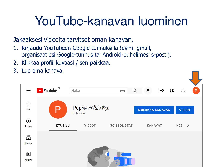 Oletuksena YouTube-kanava on nimetty nimelläsi ...