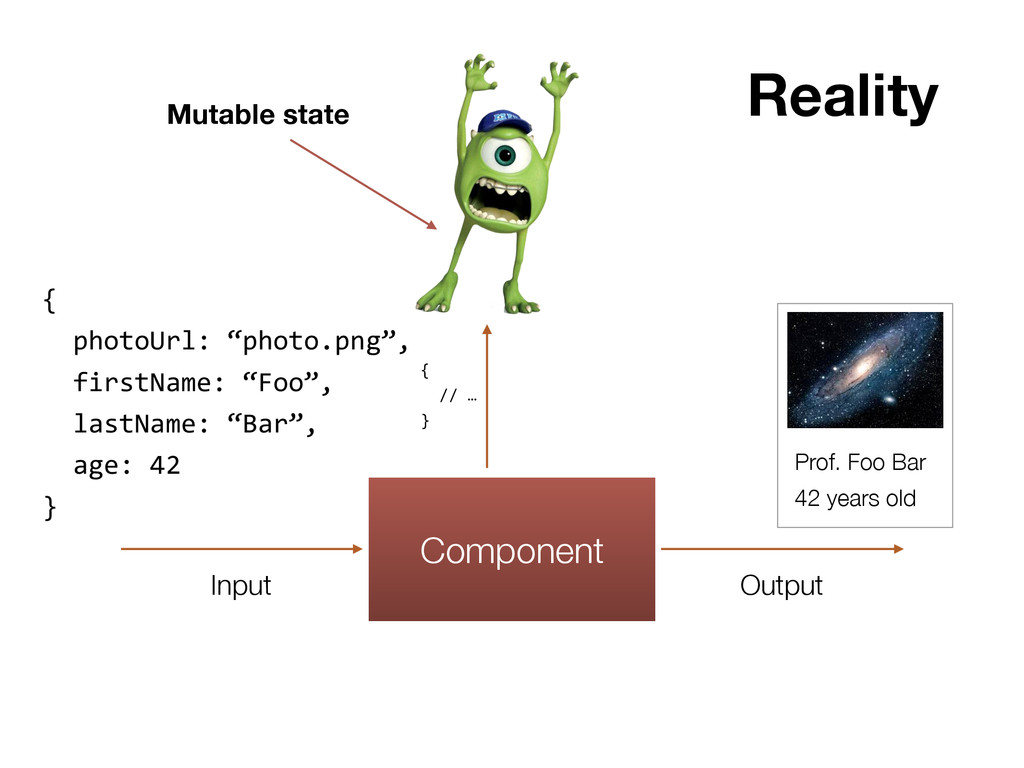 Component Input Output Reality Mutable state {...