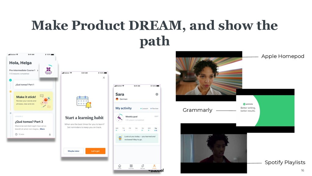 16 Make Product DREAM, and show the path Apple ...