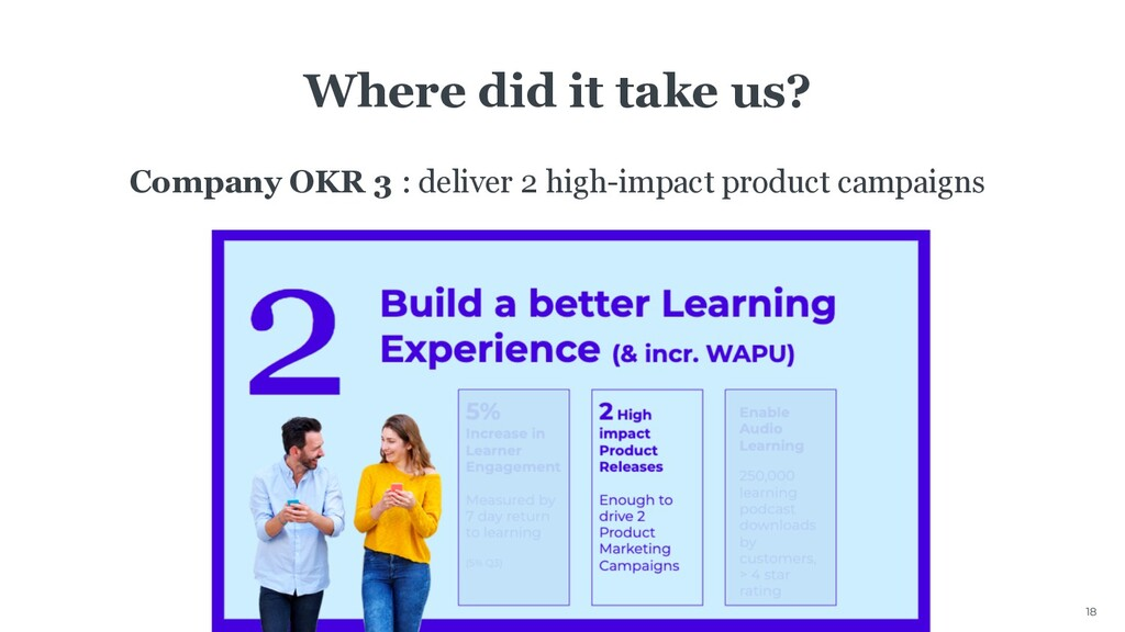 18 Where did it take us? Company OKR 3 : delive...