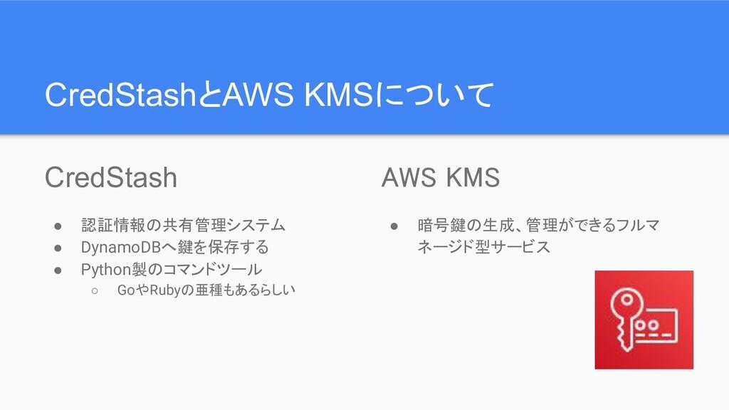 CredStashとAWS KMSについて CredStash ● 認証情報の共有管理システム...