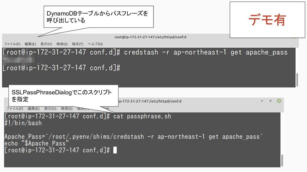 DynamoDBテーブルからパスフレーズを 呼び出している SSLPassPhraseDial...