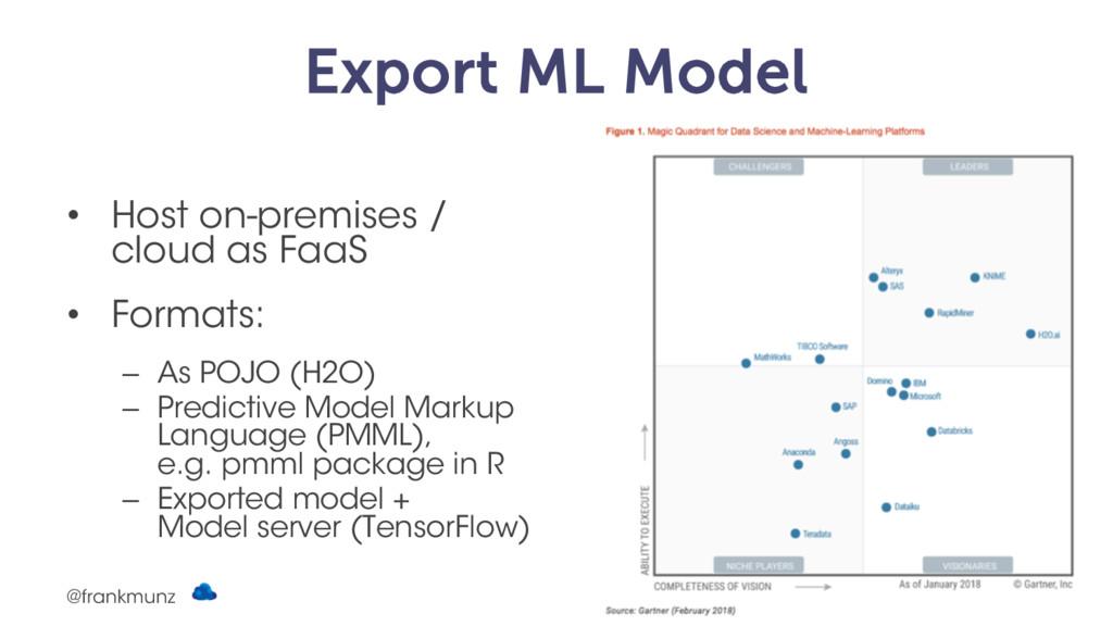 Export ML Model • Host on-premises / cloud as F...
