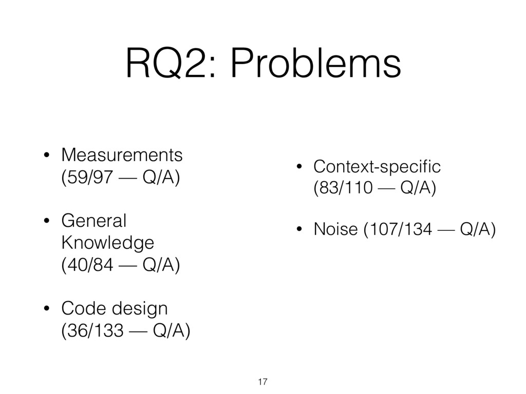 RQ2: Problems 17 • Measurements (59/97 — Q/A) •...