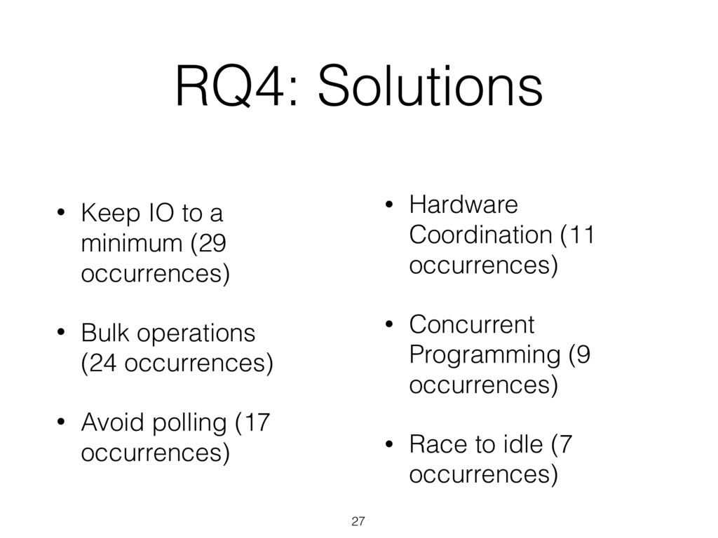 RQ4: Solutions 27 • Keep IO to a minimum (29 oc...