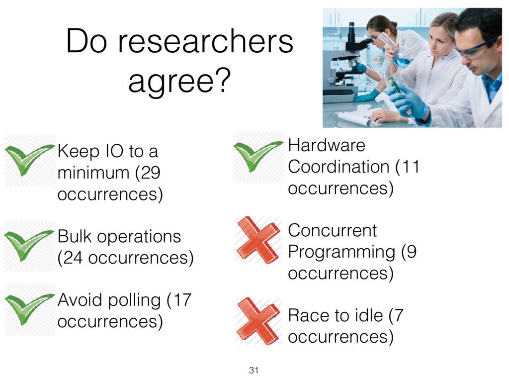 Do researchers agree? 31 • Keep IO to a minimum...