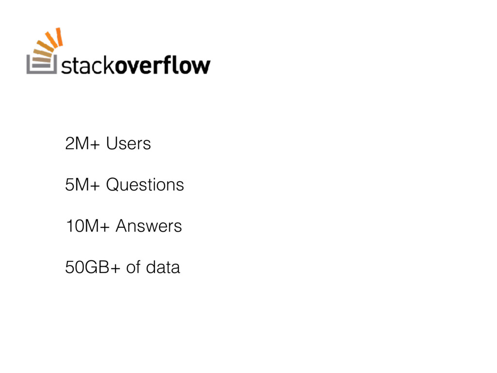 2M+ Users 5M+ Questions 10M+ Answers 50GB+ of d...