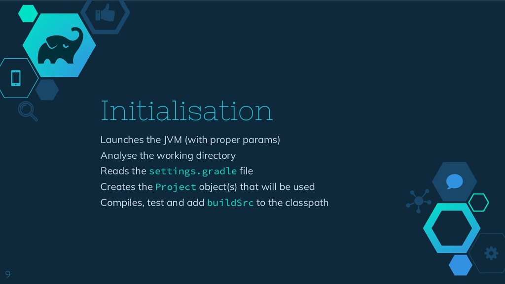 9 Initialisation Launches the JVM (with proper ...